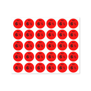 Size 6 5 Sticker Shoes Retail Store Clothing Shop Tag Labels 0 75 Round 10pk