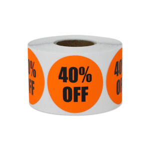 40 Off Sticker Yard Garage Sale Retail Store Clearance Labels 1 5 x1 5 10pk