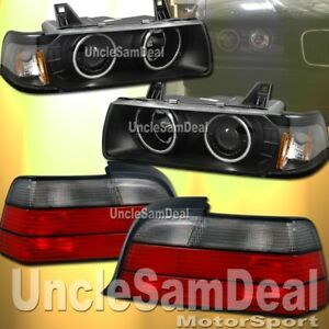 Bmw E36 Coupe Halo Rims Projector Black Headlights Oe Look Red Smoke Tail Lights
