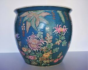 20th Century Chinese Floral Porcelain Fish Bowl 14 5 Wide X 12 High
