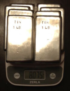 Tin Metal Ingot 99 Pure 8 Pounds Total In 8 One Pound Bars