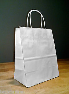 8 X 4 75 X 10 25 White Paper Cub Shopping Gift Bags With Rope Handles