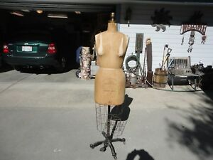 Vintage Wolf Dress Form W cage Cast Iron Base On Wheels Size 14p Model 1959 Excl