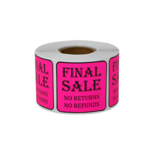 Final Sale Sticker No Returns Refunds Sell Retail Store Labels 1 5 x1 5 10pk