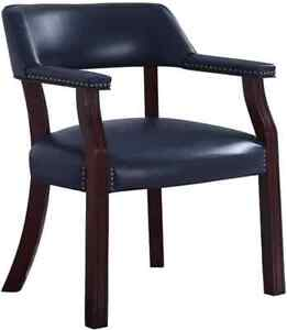 Blue Leatherette Upholstered Dark Cherry Office Chair With Nail head Trim 411n