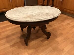 Victorian Marble Top Coffee Table Antique Looks Great