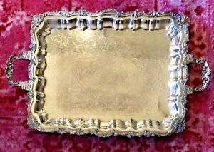 Sheridan Silverplate Large Footed Butler Tray Ornate Vintage Server 16 X 19