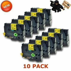10pk Tape Tz641 Tze641 Black On Yellow Label For Brother P touch 18mm