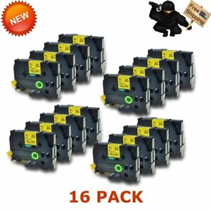 16pk Tape Tz641 Tze641 Black On Yellow Label For Brother P touch 18mm