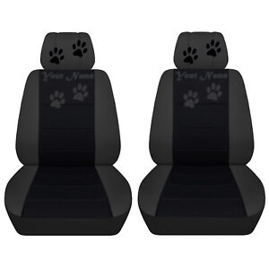 Front Seat Covers Fits 2008 To 2012 Jeep Liberty Black charcoal Paw Prints Desi