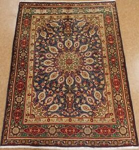 Persian Tabrizz Hand Knotted Wool Navy Red Green Floral Oriental Rug 4 7 X 6 2