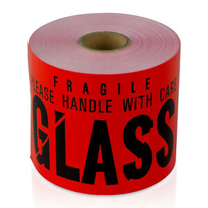 Glass Handle With Care Warning Careful Stickers Fragile Shipping Labels 3 x5