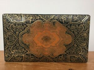 Vtg Italian Florentine Gold Green Leather Covered Wooden Canasta Card Game Box