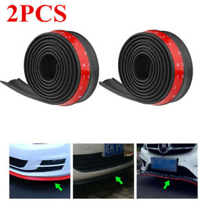 2pcs Auto Car Universal Front Bumper Lip Splitter Chin Spoiler Skirt Rubber 8ft
