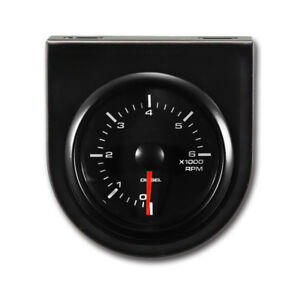 52 Mm Diesel Auto Tachometer Mount Panel White Led Black Face Rim