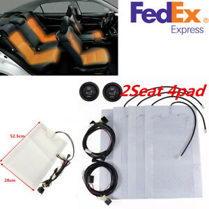 12v Carbon Fiber 2 Seats Universal Heated Seat Pad Heater Kit W High low Switch