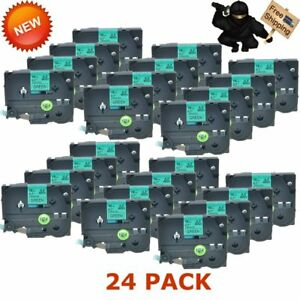 Us 24 Pack Tz741 Tze741 Black On Green 18mm Label Tape For Brother P touch