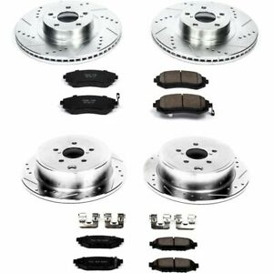 Powerstop New 4 wheel Set Brake Disc And Pad Kits Front Rear For Subaru Legacy
