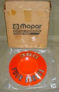 Nos Geniune Mopar Performance 360 Four Barrel Air Cleaner Breather Id Name Plate