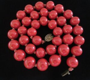 Vintage Chinese Smooth Cinnabar Red Lacquer Bead Necklace Silver Filigree Clasp