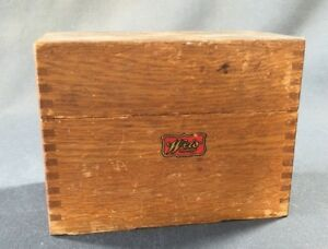 Vintage Weis Wood Recipe Index Box Dovetailed Oak Brass Hinges 3x5 Card File
