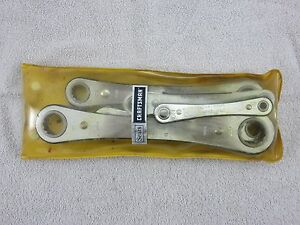 Craftsman Box End Ratchet Wrench Set 5 Piece 1 4 7 8 Vintage Yellow Pouch