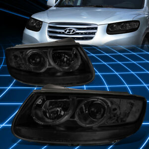 For 07 12 Hyundai Santa Fe Projector Headlight lamps Replacement Smoked clear