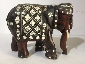 Antique Anglo Indian Wood Carved Bovine Bone Inlay Elephant Mughal Statue 19th C