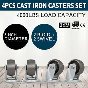 5 Heavy Duty Semi Steel Cast Iron Casters 2 Swivel 2 Rigid 4 000 Lb
