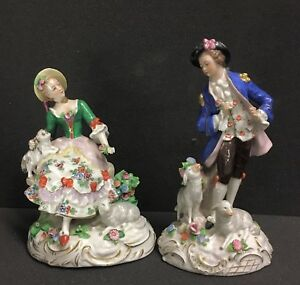 Antique Dresden Porcelain Pair Of Galant Figures