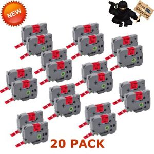 20 Pack Label Tape Tz441 Black Red Tape For Brother P touch Pt d400 Pt p750wvp