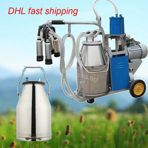 Electric Portable Milking Machine For Farm Cows W bucket 25l Piston Vacuum Pump