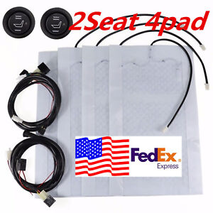 4pcs Universal Heated Seat Heater Kit 12v Carbon Fiber Round High Low Switch Us