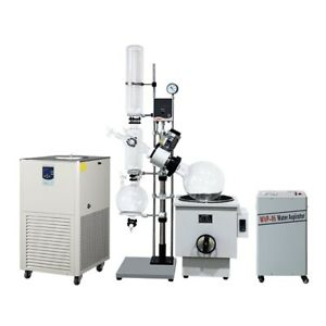 20l Motor Lift Rotary Evaporator Complete Turnkey W Water Vacuum Pump chiller
