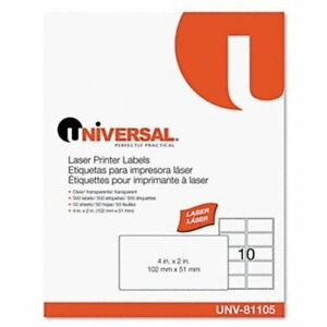 Universal Office Products 81105 Laser Printer Permanent Labels 2 X 4 Clear