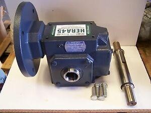 Hub City Hera45es Right Angle Hollow Bore Gearbox Speed Reducer 10 1 Ratio New