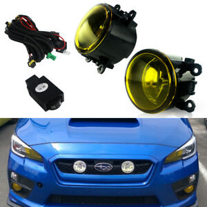Glass Lens Yellow Fog Lights W Bulbs Switch Harness Kit For 2015 17 Subaru Wrx