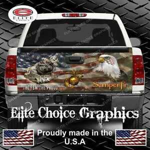 Marine Dog Military Flag Camo Truck Tailgate Wrap Vinyl Graphic Decal