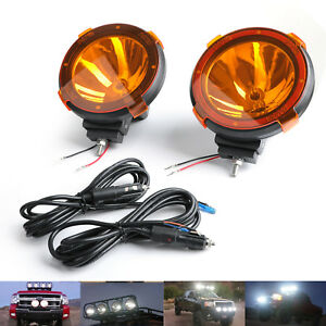 Pair Hid Xenon Spot Beam Bulb Driving Off Road 7inch Working Light Lamp 6000k Ab