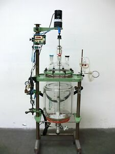 Chemglass 50 Liter Jacketed Glass Reactor W Motor Controls Valves Temp Gauge