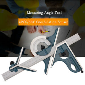 12 4pcs Combination Measuring Angle Tool 180 Degree Machinist Square Protractor