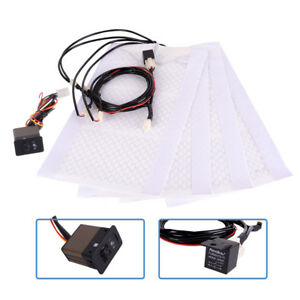 2pcs 12v Car Auto Seat Heating Pad Warmer Carbon Fiber Heater With Switch Ma1861