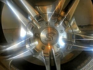 24 Inch Structure Ribb Chrome Rims With Tires Set Of 4