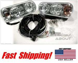 Super Bright Universal Halogen Snow Plow Lights Light Kit Wiring Harness 0em