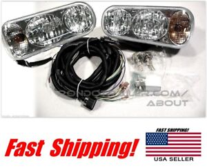Super Bright Universal Halogen Snow Plow Lights Light Kit Wiring Harness Oem
