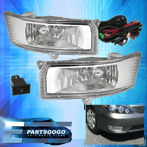 Chrome Clear Bumper Driving Fog Light Lamp Switch Wires For 05 06 Toyota Camry