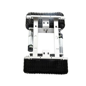 Silver 12v Robot Smart Tank Chassis Kit Car Light Shock With Code Wheel