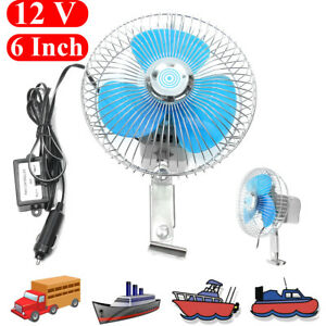 6 12v Electric Oscillating Auto Cooling Air Fan For Vehicle Truck Car Boat