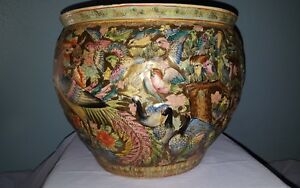 Vintage Chinese Relief Hand Painted Porcelain Fish Bowl Planter Exceptional