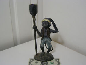 Vintage Monkey Candle Holder Candlestick Bronze Plated Iron